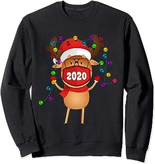 Idea de pijama a juego con máscara de reno de Navidad 2020 Sudadera