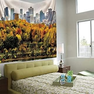 AngelSept Fashionable Personality Tapestry Home Decoration Background Elastic Living Room,Fall,Montreal Downtown Skyscrapers Autumn Various Trees Colorful Forest Urban Life Nature,Multicolor