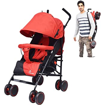 R for Rabbit Twinkle Twinkle Stroller Compact Travel Friendly Pram for Baby|Kids|Infants|New Born|Boys|Girls of 0 to 3 Years(Red Black)