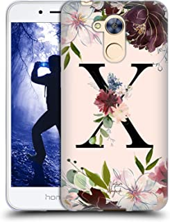 Official Nature Magick Letter X Rose Gold Flowers Monogram 2 Soft Gel Case Compatible for Huawei Honor 6A