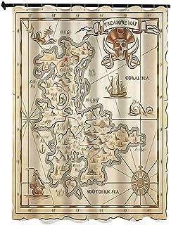 オーシャンアイランドの装飾 自然の風景 シャワー カーテン 90 x 180cm 古い古代のアンティークの宝の地図と詳細なレトロカラーアドベンチャーセーリング海賊プリント ホワイト カーテン 清潔感 バス用品 カーテン バスルーム お風呂 洗面...