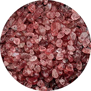Natural Chip Stone Beads Strawberry Quartz 5-8mm About 400 Pieces Irregular Gemstones Healing Crystal Loose Rocks Bead Hol...