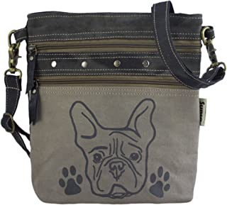 Sunsa Damen graue Umhängetasche. Canvas & Leder Tasche. Kleine Damentaschen in Vintage still. Hunde Motive Crossbody Bag.
