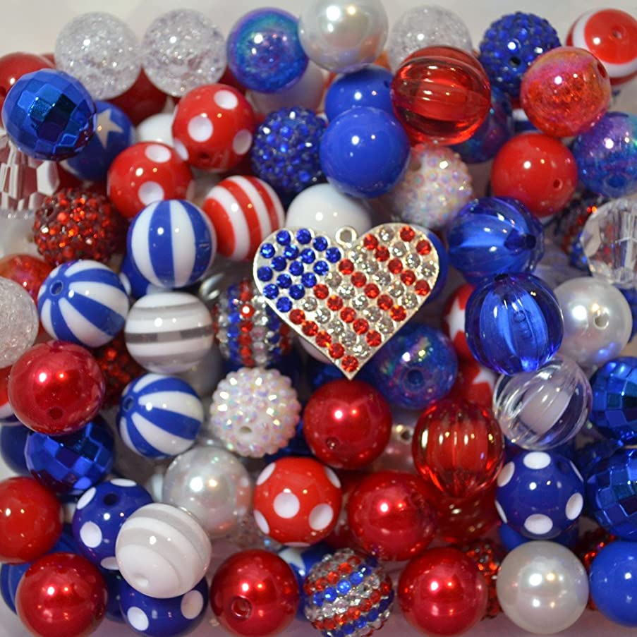 Patriotic Themed Bulk Mix of 20mm Acrylic Bubblegum Beads in Red, White and Blue