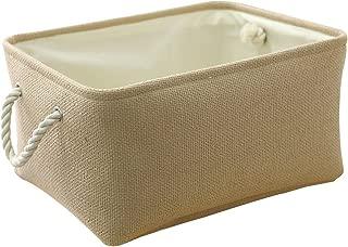 TheWarmHome Decorative Basket Rectangular Fabric Storage Bin Organizer Basket with Handles for Clothes Storage (Beige, 15.7L11.8W8.3H)