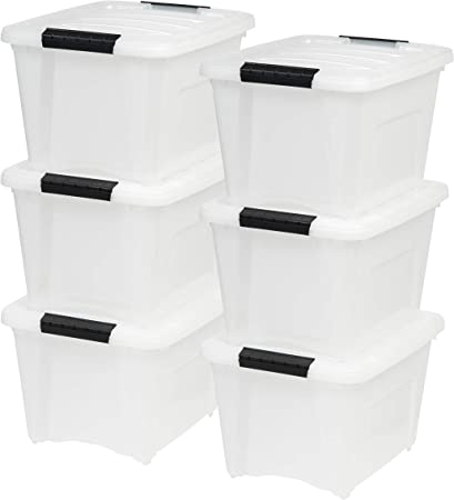 Plastic Storage Bin Tote Organizing Container with Durable Lid and Secure Latching Buckles