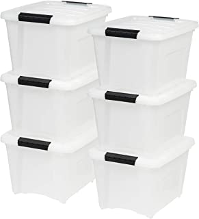 IRIS USA TB-17 19 Quart Stack & Pull Box, Multi-Purpose Storage Bin, 6 Pack, Pearl