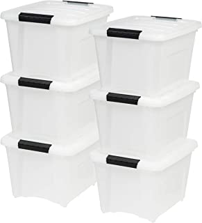IRIS USA, Inc TB-17 19 Quart Stack & Pull Box, Multi-purpose Storage Bin, 6 Pack, Pearl