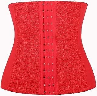 Women's Lace Waist Training Steel Boned Corset Shapewear Red XS