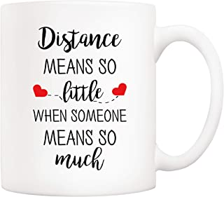 5Aup Distance Relationship Christmas Gifts for Long Distance Couples, Friends, and Family Coffee Mug, Distance Means So Little When Someone Means So Much Cups 11 Oz