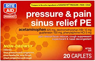 Rite Aid Cold & Cough Sinus Relief PE with Non-Drowsy Formula - 20 Caplets   Pain Relief   Nasal Decongestant