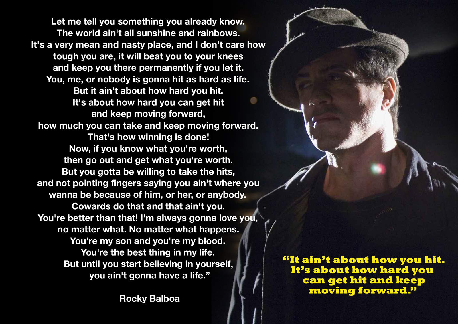 CANVAS PRINTS WALL ART PICTURES ROCKY BALBOA QUOTE PRINT PICTURE ROOM DECORATION HOME WALL HOLLYWOOD LEGENDS NOSTALGIA BOXING MOVIE