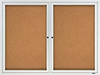 Quartet Cork Board, 2 Doors, Bulletin Board, Enclosed, 4' x 3', Outdoor, Corkboard, Aluminum Frame (2124)