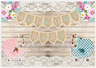 Allenjoy Rustic Welcome Gender Reveal Backdrop Background for Birthday Party Dessert Candy Cake Table Decor Decoration Floral boy or Girl Baby Shower Banner Photo Shoot Booth Blue Pink