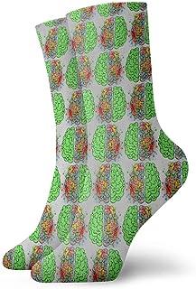 yting, Calcetines de vestir de cerebros verdes de acuarela Calcetines divertidos Calcetines locos Calcetines casuales para niñas Niños