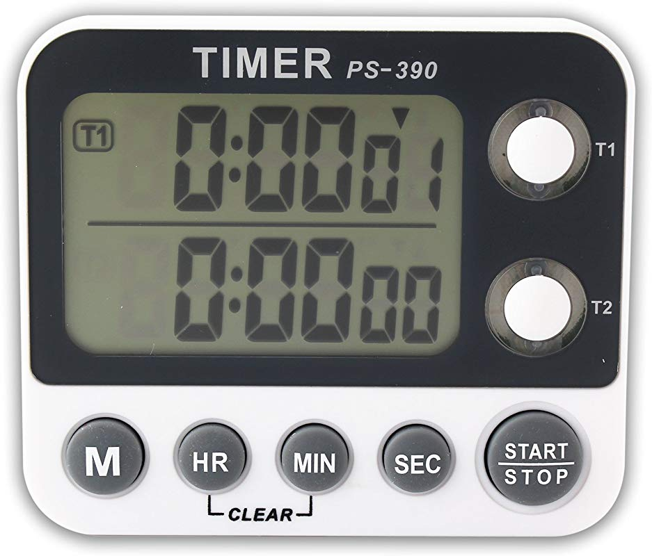 Portable LCD Timer With Magnet Countdown Dual Display Channel Alarm Timer