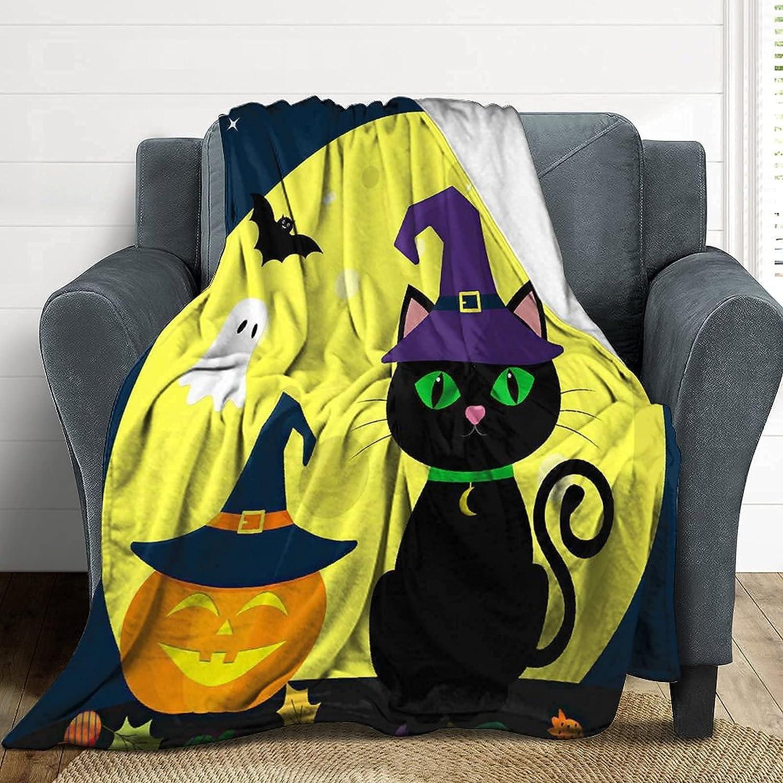 Halloween Blanket Pumpkin Ghost Cat Throw Blanket Ultra Soft Warm Cozy Lightweight Halloween Bedding Fleece Flannel Blanket for Kids Adults Sofa Couch Bed