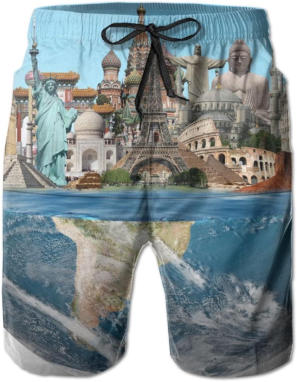 HFSST World Tourist Attractions Liberty Paris TowerHandsome Fashion Summer Cool Shorts Swimming Trunks Beachwear Beach Shorts