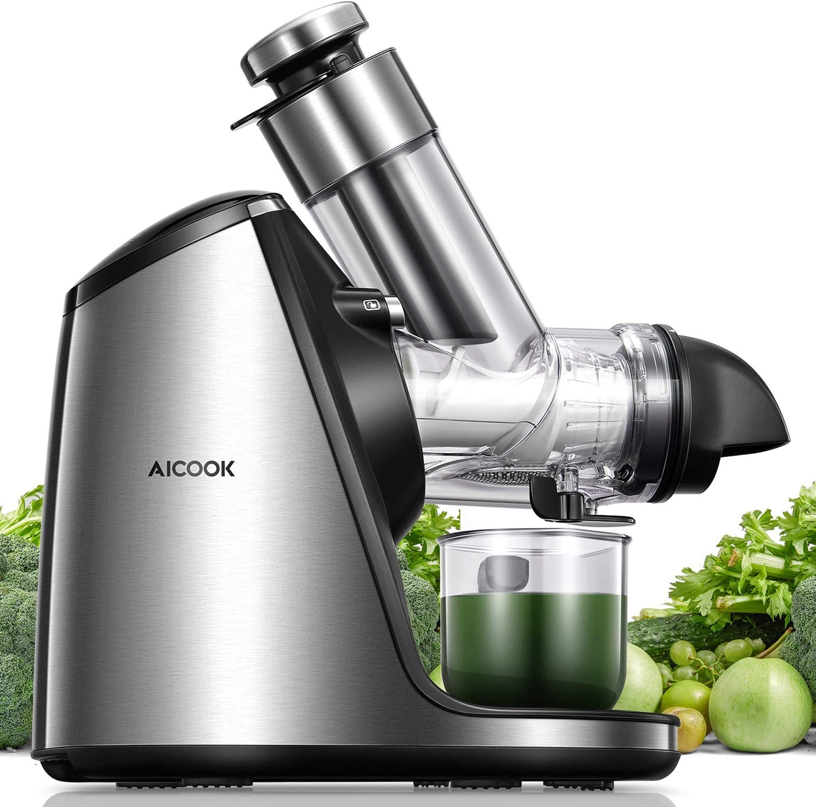 AICOOK Juicer Machines, 3in Large Feed Chute, Stainless Steel Slow Masticating 200W Easy to Clean, Ceramic Auger Makes High Nutritive Fruit&Vegetable Juice, Ice Cream ACC&Juice Recipes Included
