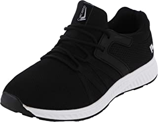 calcetto Mens Black White Nylon Mesh Sport Shoes