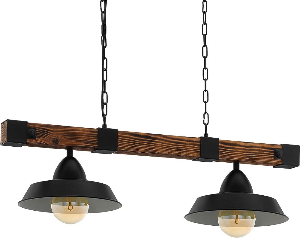 Eglo oldbury - lampadario a sospensione a 2 luci, stile vintage 49684