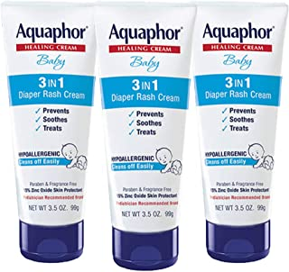 Aquaphor Baby Diaper Rash Cream 3.5 Ounce - (Pack of 3)