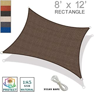 SUNNY GUARD 8' x 12' Brown Rectangle Sun Shade Sail UV Block for Outdoor Patio Garden
