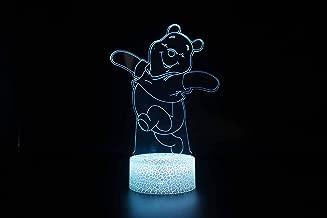 Lámpara De Ilusión 3D Creative Dancing Bear, 7 Luces De Noche De Gradiente De Color Led Crack Smart Touch Table Lamp, Lámpara De Noche