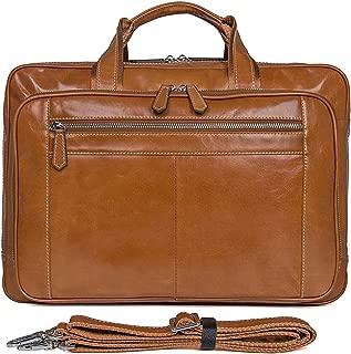 Genda 2Archer Men's Leather Briefcase Shoulder Messenger Bag Fit 15.6-Inch Laptop One_Size Brown Yellow