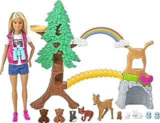 Barbie Wilderness Guide Interactive Playset with Blonde Doll (12-in), Outdoor Tree, Bridge, Overhead Rainbow, 10 Animals &...