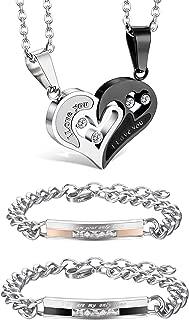 4Pcs Couple Necklace Bracelets Matching Set for Women Men Love Heart Pendant Necklace His & Hers Bracelets Couple Gift