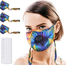 BRINCH 3Pcs Cloth Face Mask Reusable for Women/Men Washable Face Cover with 10pcs Filter, Adjustable Mask Lanyard Around The Neck