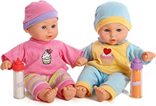 12`` Baby Twins Dolls 1 Boy & 1 Girl with Milk & Juice Bottle