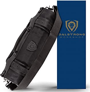 Dalstrong - Nomad Knife Roll - 12oz Heavy Duty Canvas & Top Grain Leather Roll Bag - Nightmaster (Black) - 13 Slots - Inte...