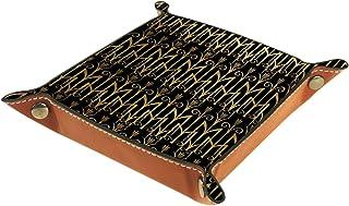 FCZ Plateau de rangement doré en cuir d'orge égyptien couleur blé pour chevet, bureau, boîte de rangement pour bijoux, clé...