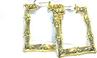 Bamboo Square Earrings Rectangle Gold Tone Bamboo Earrings
