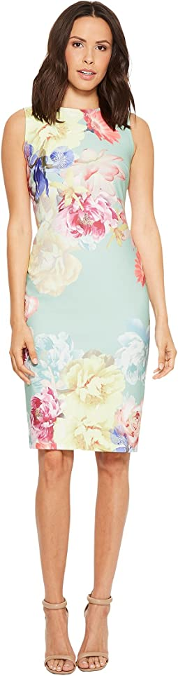 Tahari by ASL Scuba Crepe Floral Sheath Dress
