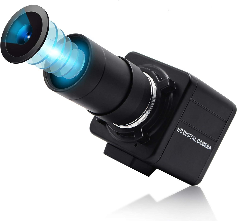 ALPCAM 8 MP USB Camera Full HD 2448P Webcam 5-50mm Varifocal Lens Optical Manual Zoom USB Webcam with Sony IMX179,UVC Web Conference Camera for Android Linux Windows Mac,Focus Adjustable USB Camera