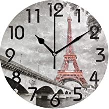 Naanle 3D Lifelike Printed Round Wall Clock, Battery Operated Quartz Analog Quiet Desk Clock for Home,Office,School 9.5in Multi g13222638p239c274s441