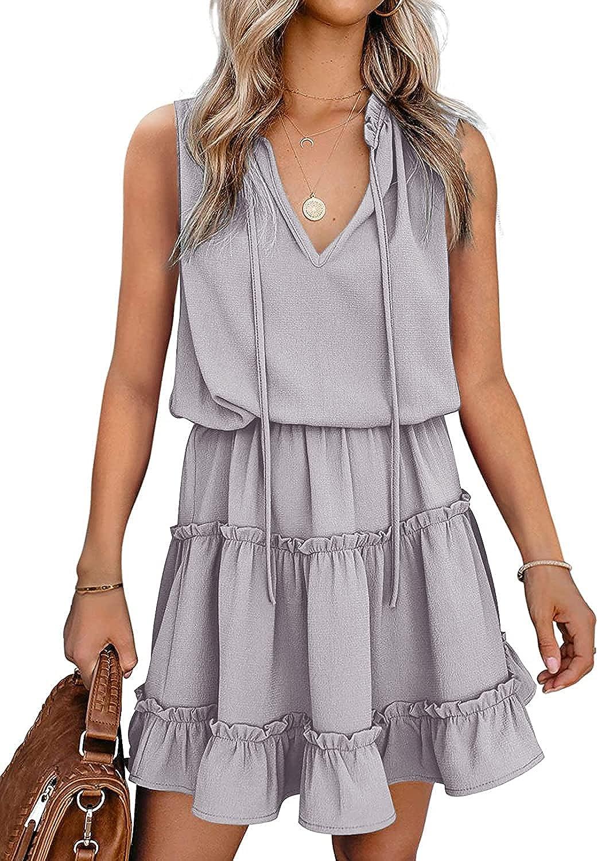 Women's Flowy Mini Swing Dress Casual Loose Sleeveless V Neck Ruffle Tiered Chiffon Short Dress