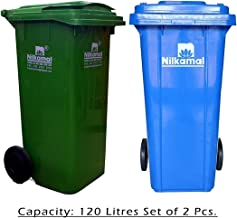 Nilkamal 120 Ltr Wheel Garbage Dustbin Green & Blue