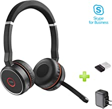 Jabra Evolve 75 Bluetooth Headset Bundle w/Bonus Wall Charger, USB Dongle 7599-832-109-B | PC/MAC Compatible with UC, Softphones, Smartphones, Tablet, PC | Microsoft Certified, Skype, Cisco, Avaya