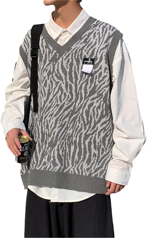 USTZFTBCL Men Spasm price Sweater Vest NEW before selling V-Neck Harajuku Mal Knitted Patchwork