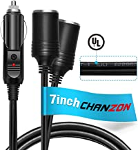 [UL Wire] Chanzon Car 2-Socket 12V Splitter Cigarette Lighter 7inch / 18cm 18AWG Power Supply Cord 15A Fused DC Power 12 24 Volt Socket 2 Way Y Adapter 2-Way Extension SPT-1 Charger