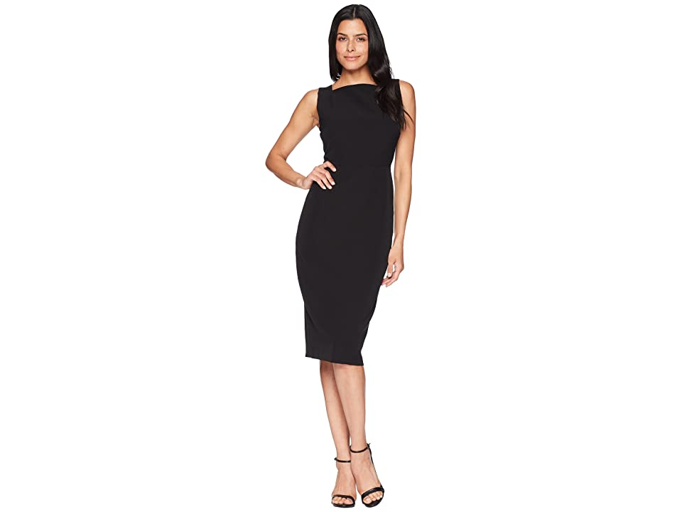 Maggy London Dream Crepe Square Neck Sheath with Two-Way Back Zipper (Black) Women