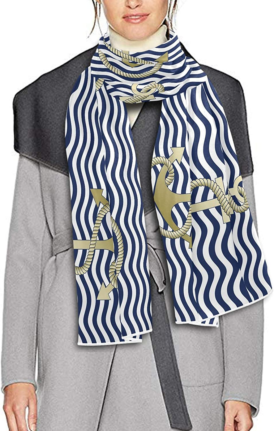 Scarf for Women and Men Blue Stripe Anchor Navigation Blanket Shawl Scarf wraps Soft Thick Winter Large Scarves Lightweight