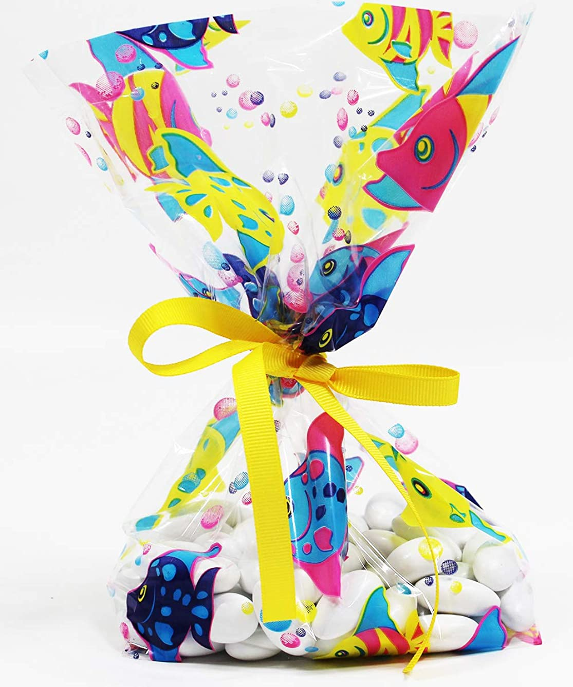 Tropical Fish Cellophane Treat Party Favor Bags with Grosgrain Ribbon Ties. Pack of 12 Large Goodie Gift Bags for Luau, Hawaiian, Kids, Boys or Girls Birthday, Baby Showers & Celebrations. Multicolor