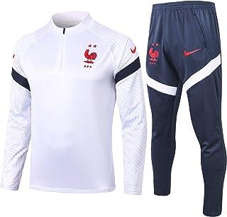 フランス代表トレーニングジャージ、長袖ジャケット、ムバペ、快適、速乾性、通気性,白,S