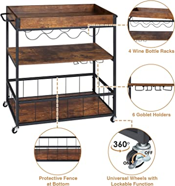 Bar Cart for Home, Serving Carts on Wheels, Wine Cart with 3-Tier Shelves, Kitchen Bar Car Industrial Metal Serving Cart with