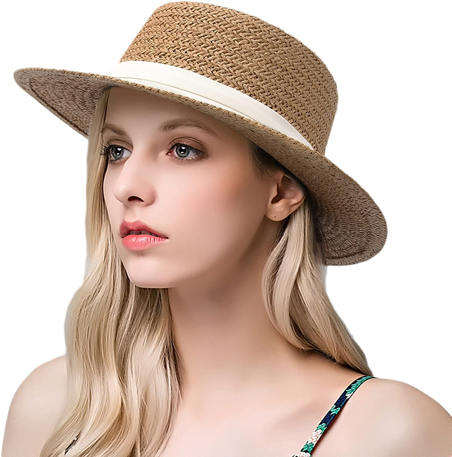 Walea Straw Fedora Hat Wide Brim Panama Sun Hat Boater Hat for Women Beach Travel Hat with bouknot Band